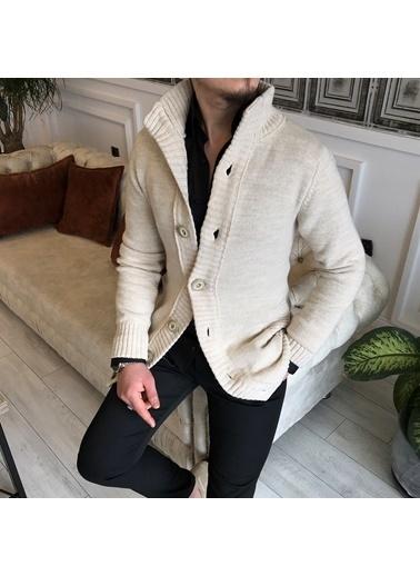 Terzi Adem 3843 İtalyan Stil Slim Fit Erkek Dik Yaka Cepli Hırka Triko Bej T5179 Bej